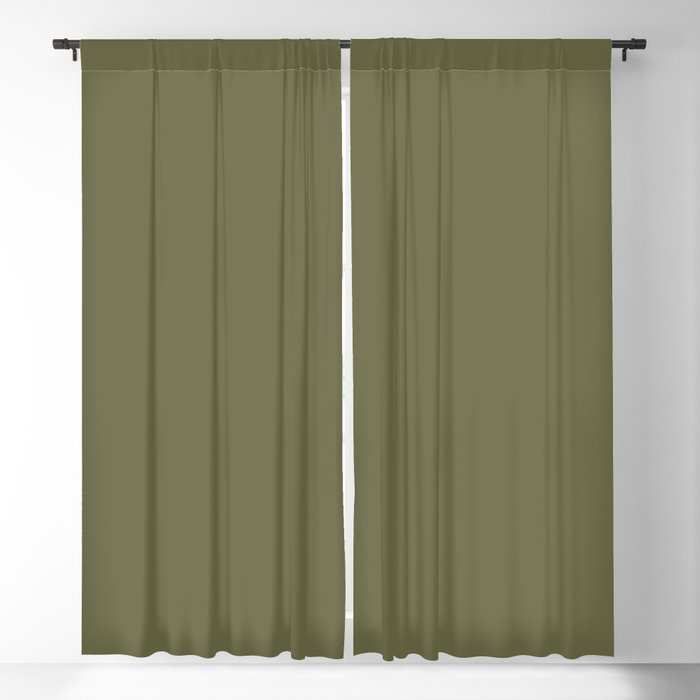 Olive Branch Green Solid Color PANTONE 18-0527 2022 Autumn/Winter Key Color - Shade - Hue - Colour Blackout Curtain
