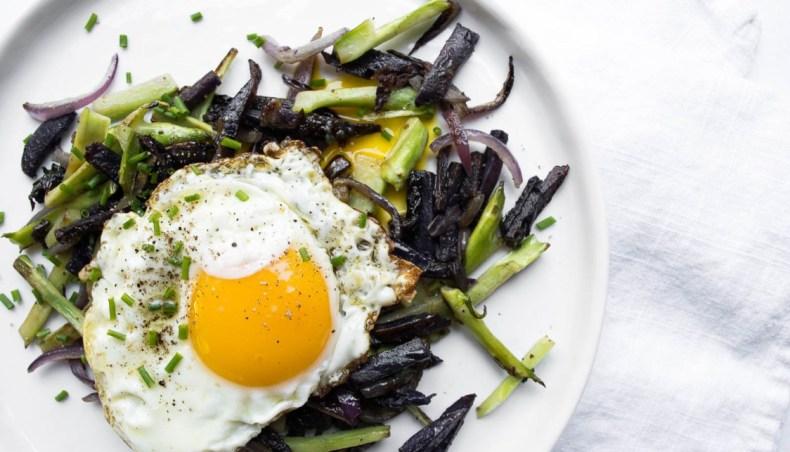 Broccoli Stem and Purple Potato Hash