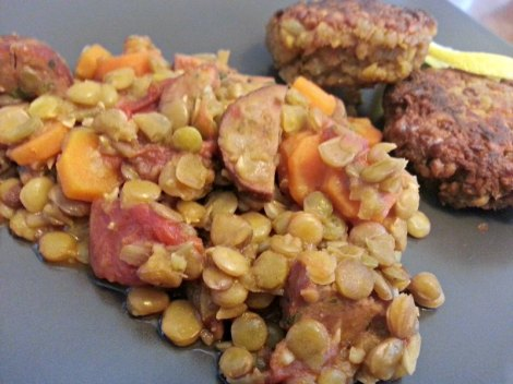 Closeup of Chicken Sausage Green Lentil Stew