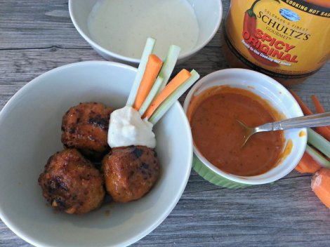Chicken Wing Meatballs with Blue Cheese Dip