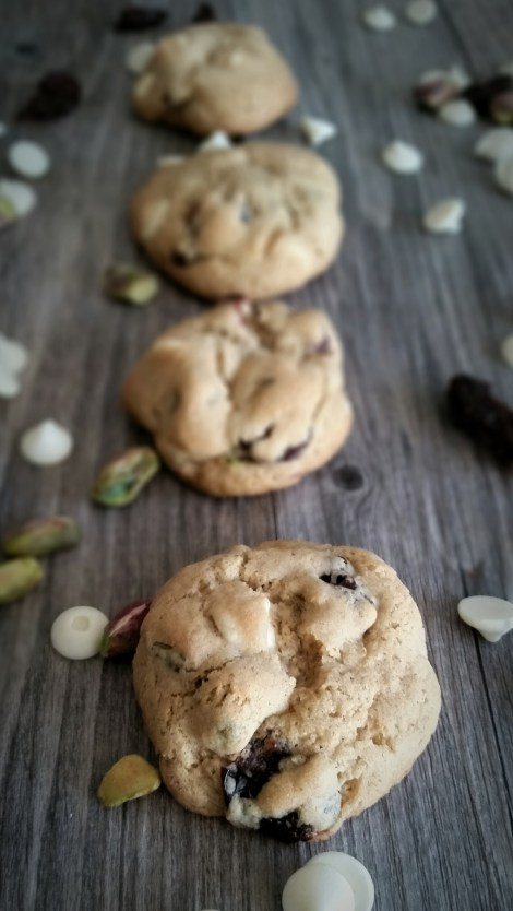 Gluten Free White Chocolate, Pistachio and Dried Cherry Cookies