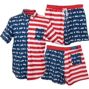Red, White, and   Blue Shorts containing stripes with small white truck and mug graphics with a   red waistband.