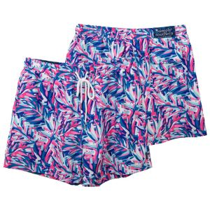 Vibrant pink,   white, and blue abstract leaves design men's shorts have an elastic   waistband, white drawstring front, back pocket, and woven Simply Southern   label.
