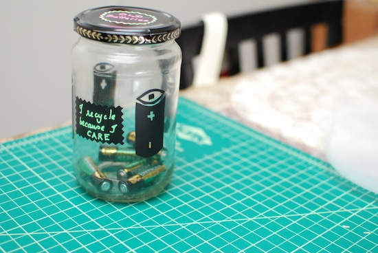 Use a Battery Jar // How to Organize Your Recyclables // simplyspaced.com
