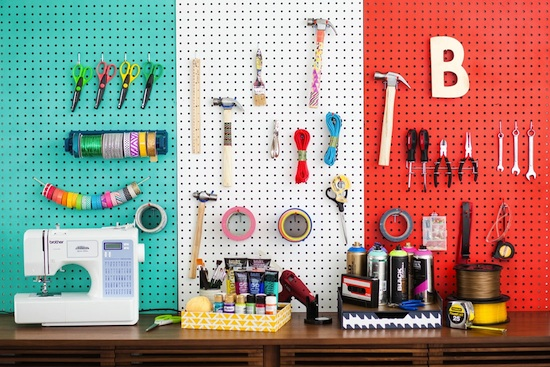 Color Blocking Zoning your Pegboard // Pegboards That Live Outside The Box // simplyspaced.com