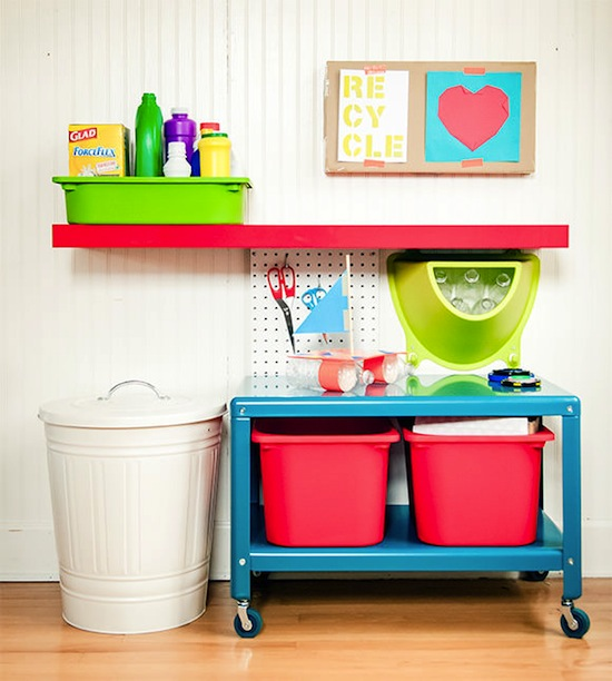 Use a Recyclable Craft Center // How to Organize Your Recyclables // simplyspaced.com