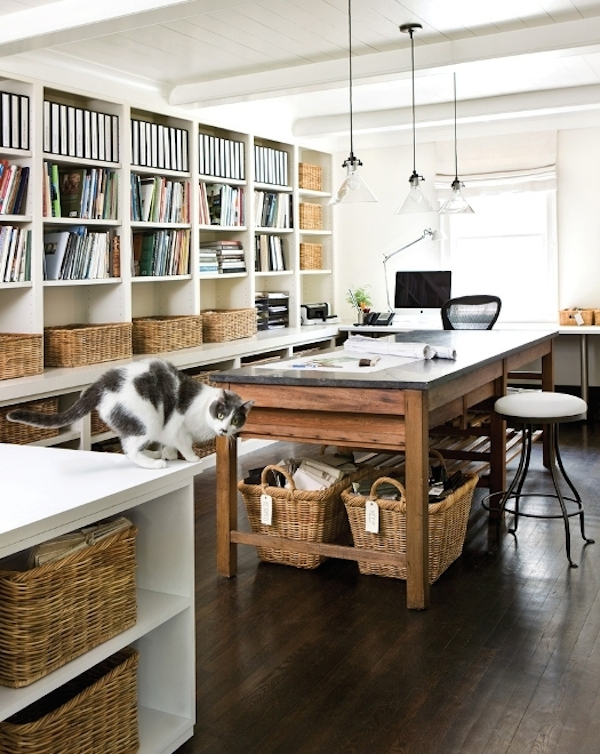 Wicker Baskets To Store Everything// 12 Creative Spaces for the Organized Artist // simplyspaced.com