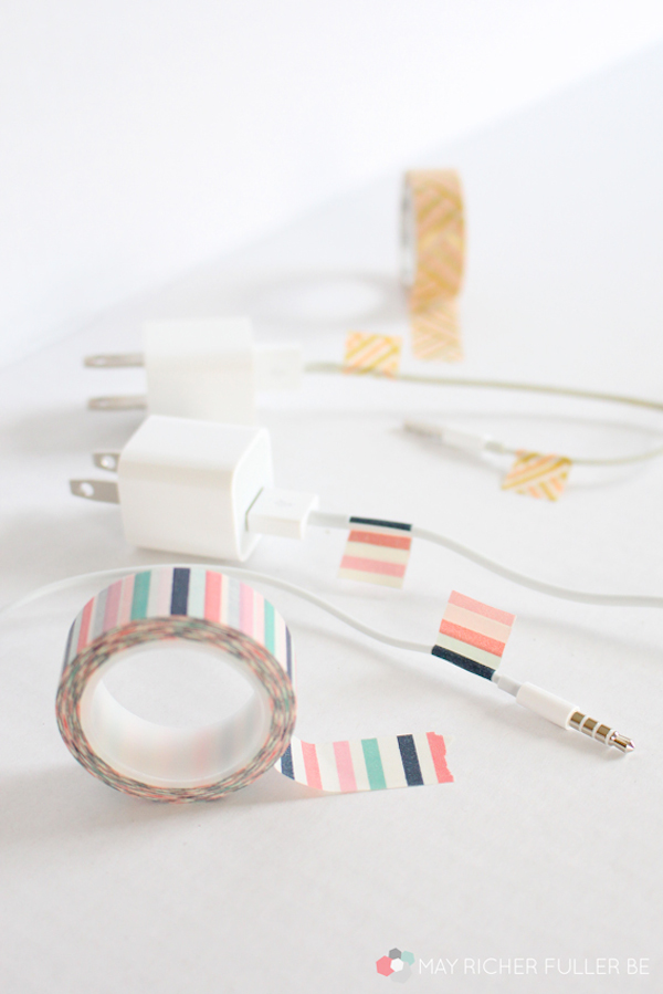 Color-Coded Washi Tape to Differentiate Your Actively Used Chargers and Headphones // 7 Ways to Label Your Cords and Cables // simplyspaced.com