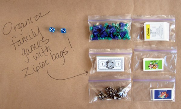 Board Game Organizing // How to Organize your Entire Life with Ziploc Bags // #game #organizing // simplyspaced.com