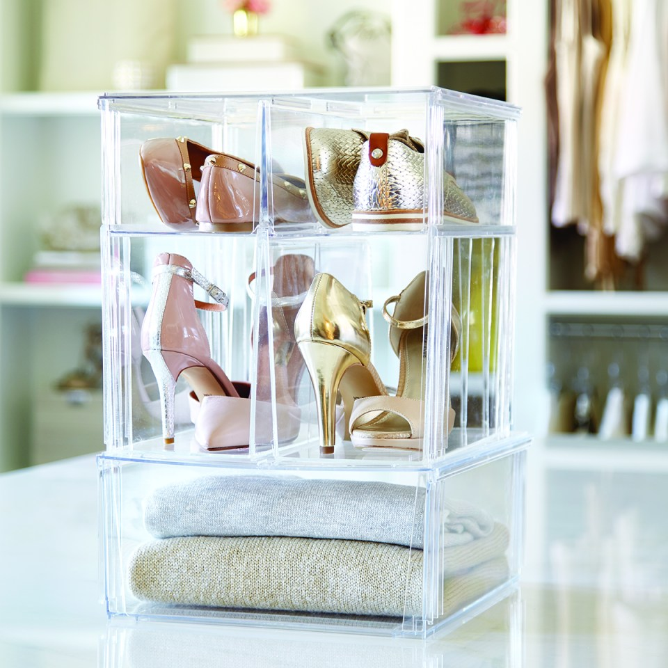 How to Organize your shoes // shoe cubbies // clear shoe bins // The Container Store // www.simplyspaced.com