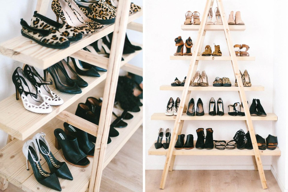 Behind the door shoe storage // Shoe organizing and storage ideas // organized home // storage solutions // closet organizing // small space // DIY shoe ladder shelf // inexpensive storage solutions // www.SimplySpaced.com