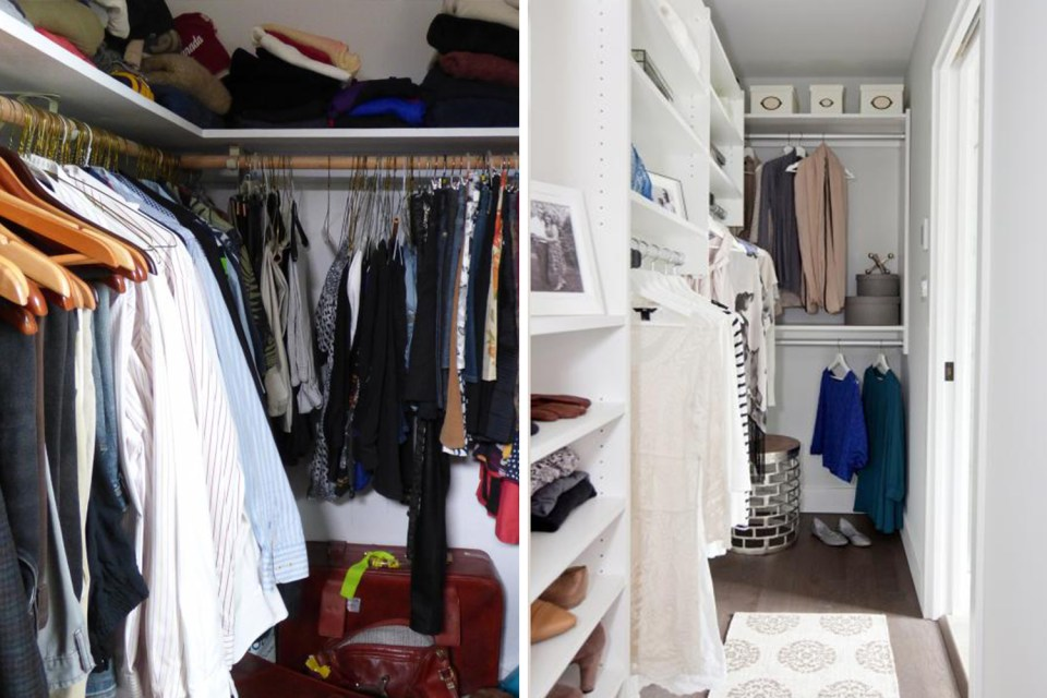 Organized closet before and after // wardrobe closet transformation // decluttered clothing // how to organize your closet // Simply Spaced