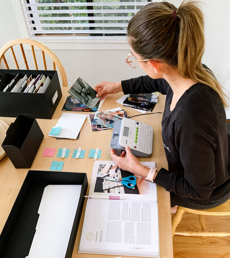 Nicole organizing her special photos
