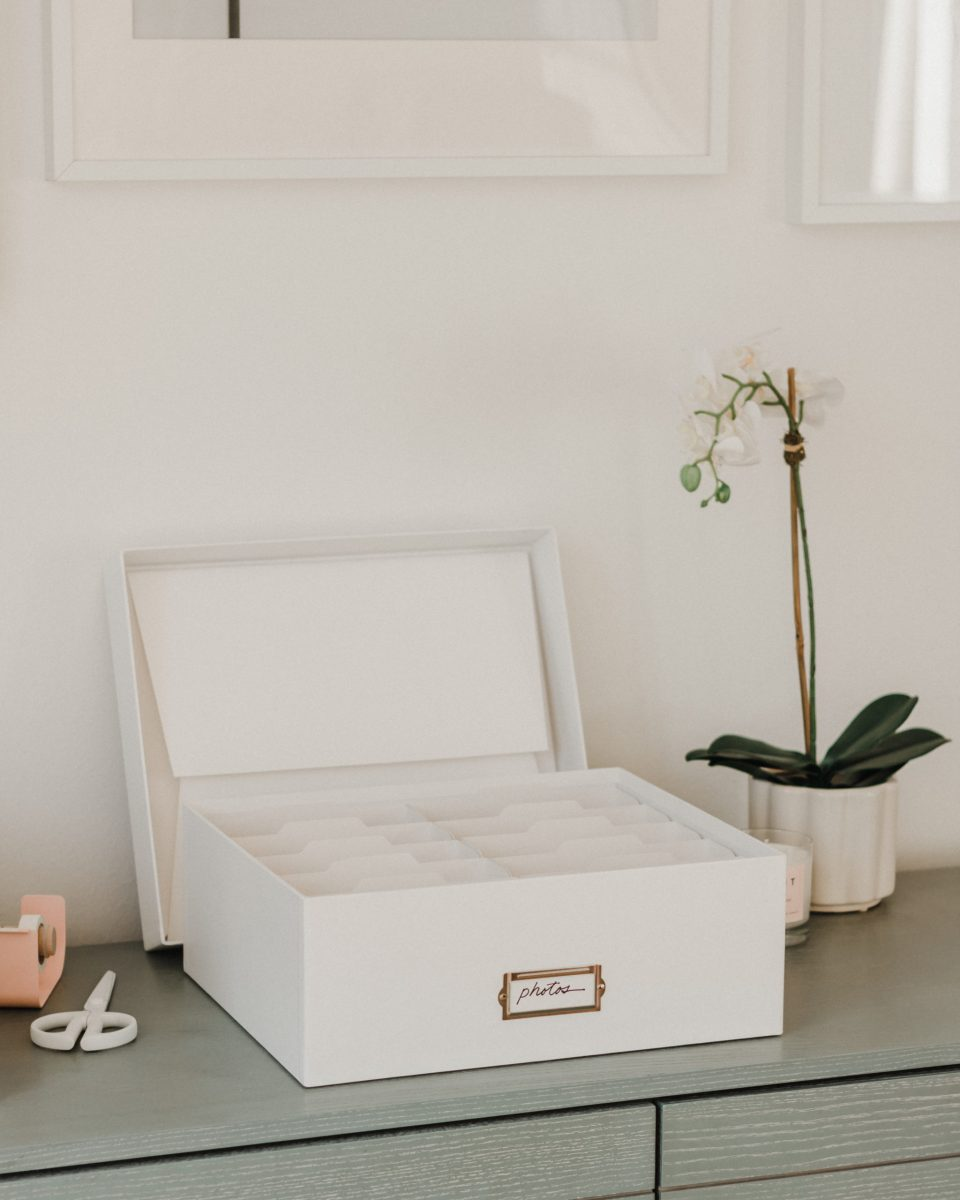 White photo box with categories