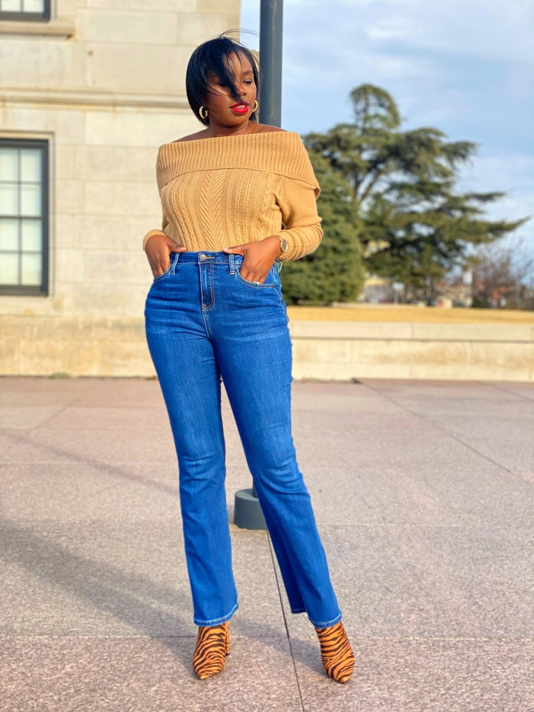 high waisted barely boot cut jeans