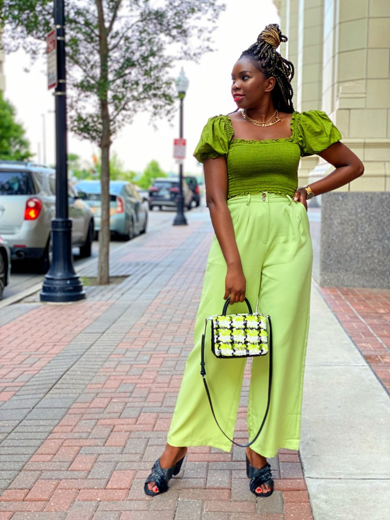 How to style a monochromatic green outfit