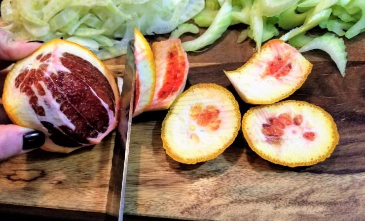 Supreming the blood orange for the citrus fennel salad