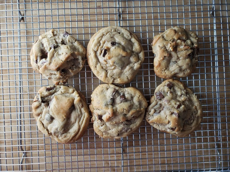 A photo of the chocolate chip cookies cooling on a rack - Amazing Chocolate Chip Cookies