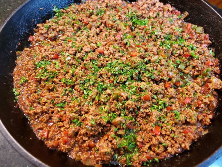 Meat mixture sprinkled with the fresh parsley