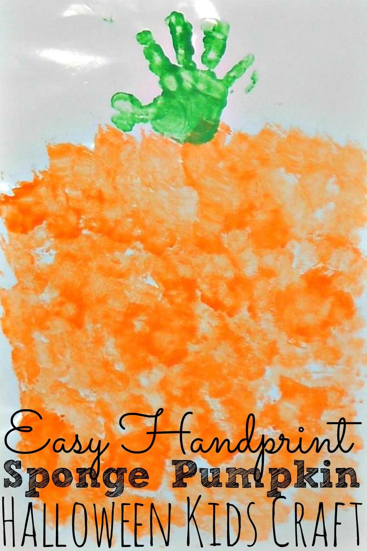 easy handprint sponge pumpkin arts crafts