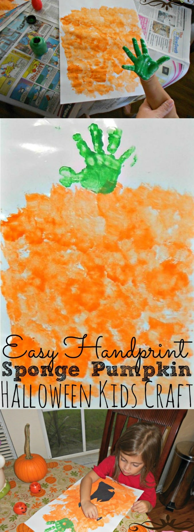 Handprint Pumpkin Kids Craft