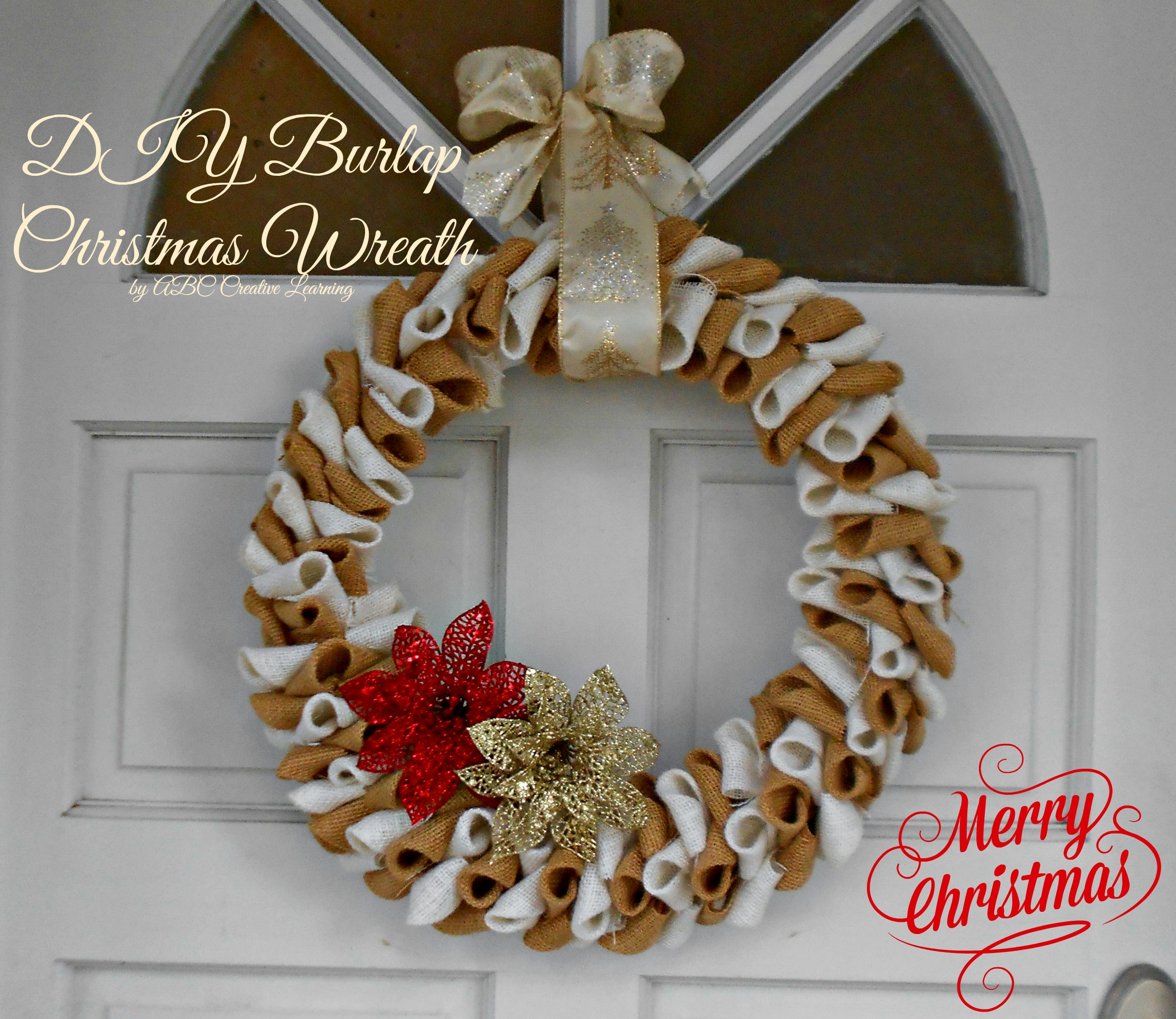 burlap christmas wreath guest post sugar bee crafts - Burlap Christmas