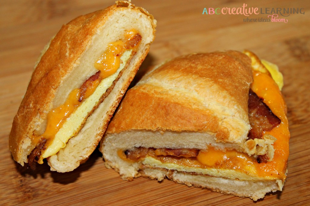 Easy Bacon, Egg, and Cheese Croissant Breakfast Sandwich for the family