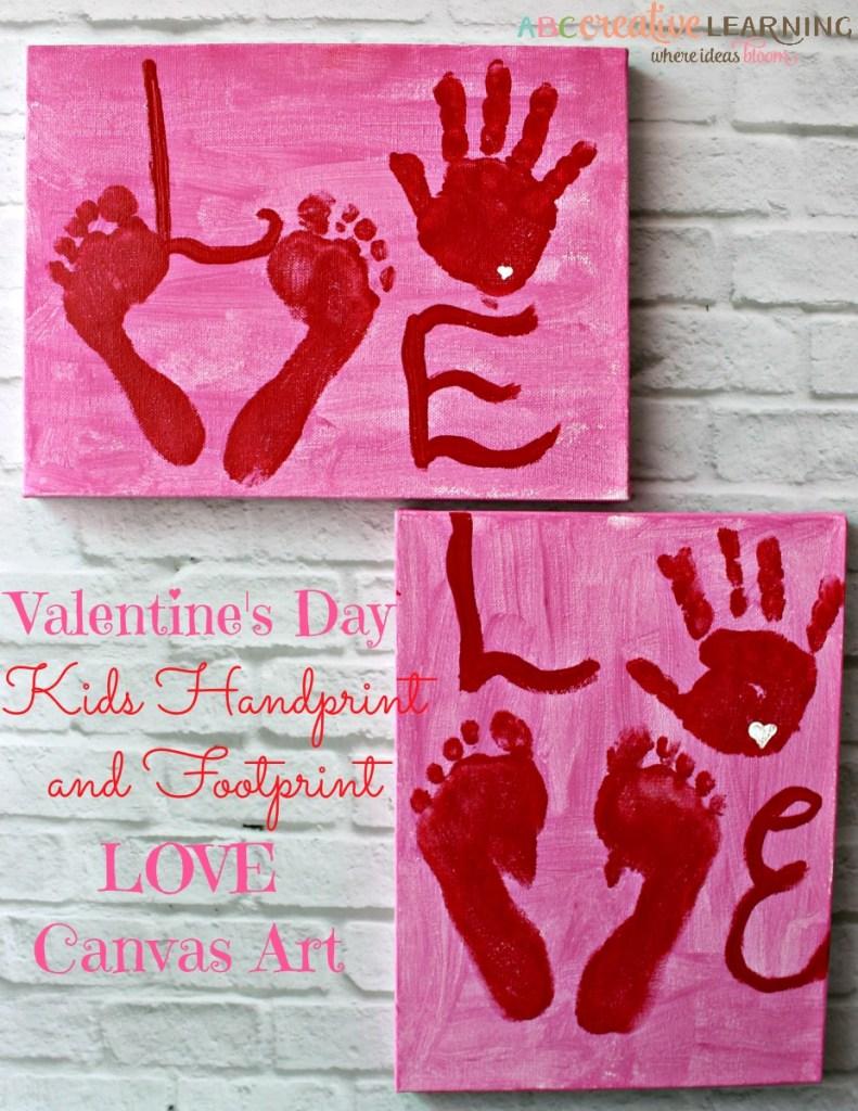 Valentine's Day Kids Handprint and Footprint LOVE Canvas Art