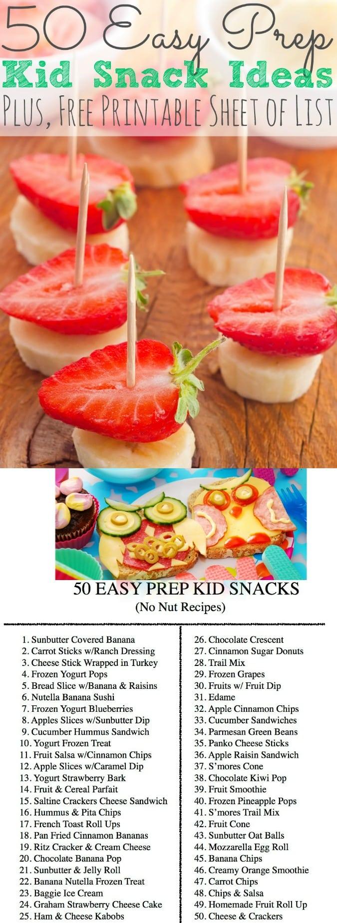 50 Easy Prep Kid Snack Ideas + Printable | Peanut Free Ideas