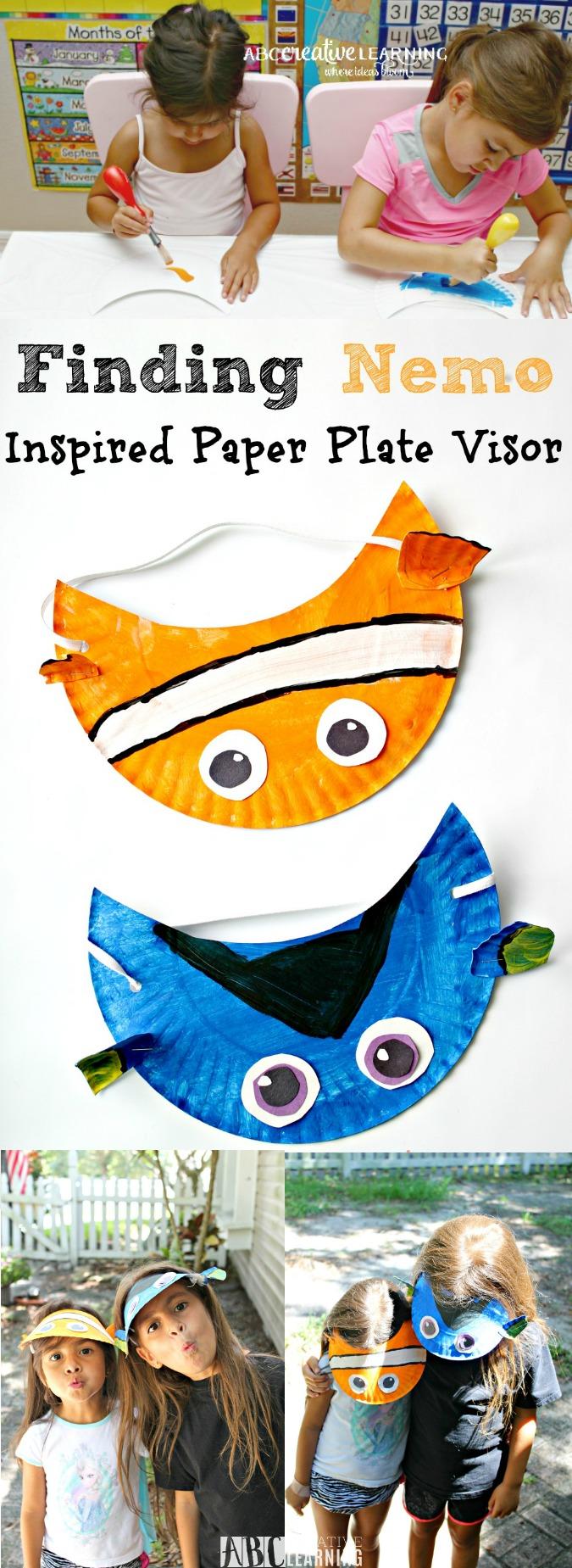 finding nemo movie inspired paper plate visor hat for kids