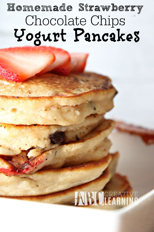 Homemade Strawberry Chocolate Chips Yogurt Pancakes + Paypal Giveaway