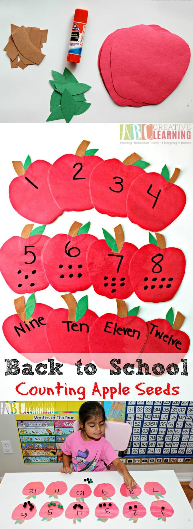 Back to School Counting Apple Seeds