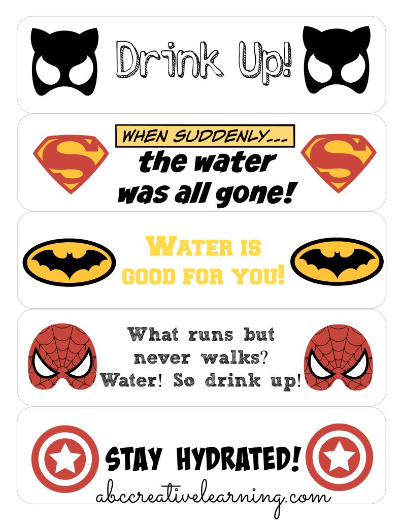 Keeping Kids Hydrated in School + Free Printable Super Heroes