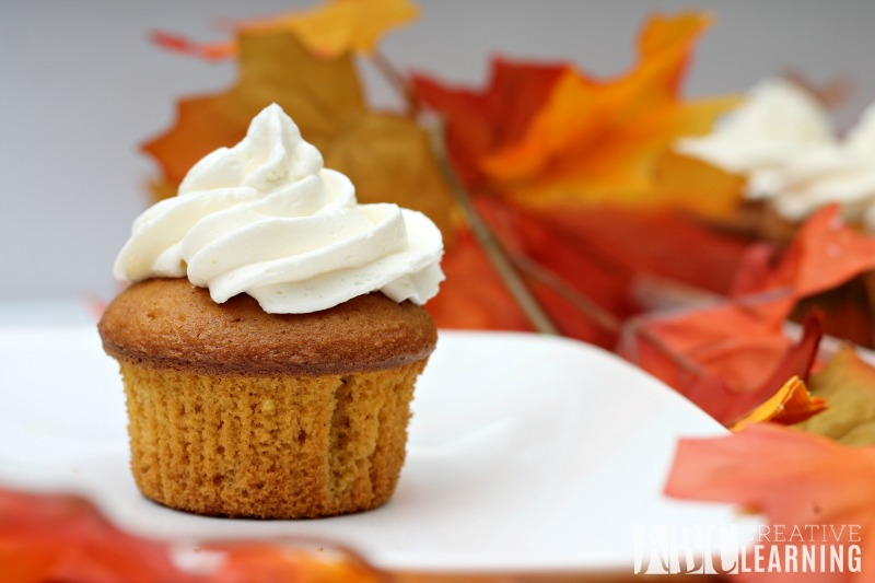 Caramel Pumpkin Spice Cupcakes with Marshmallow Frosting moist