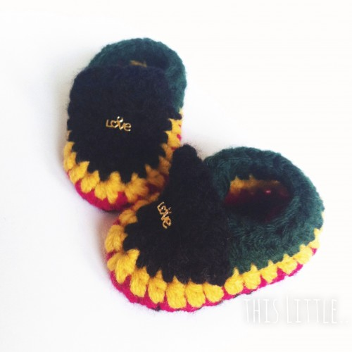 Booties inspired by Bob Marley. (Photo: Mitucha Ford) thislittle.boutique