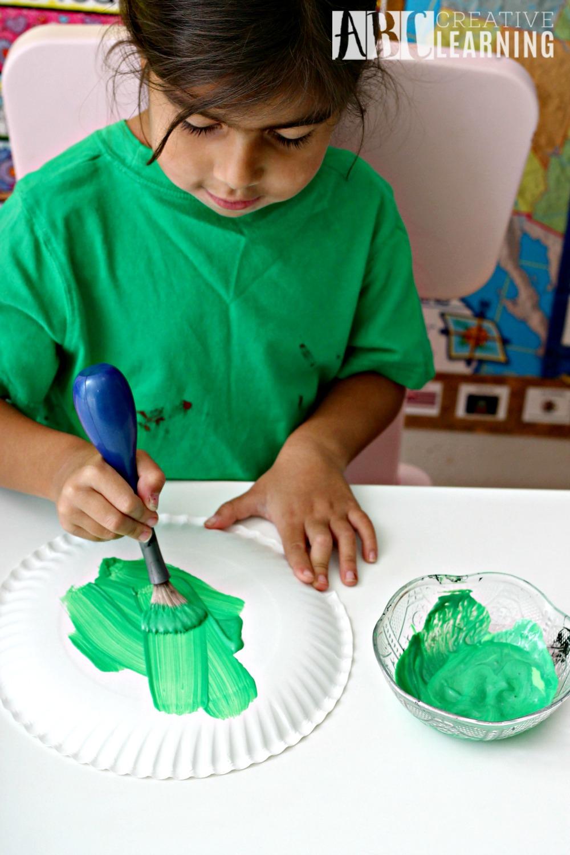The Good Dinosaur Arlo Paper Plate Craft paint