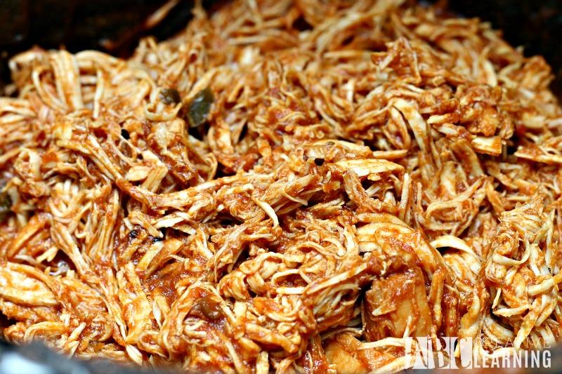Easy Crockpot Chicken Sandwich shredded