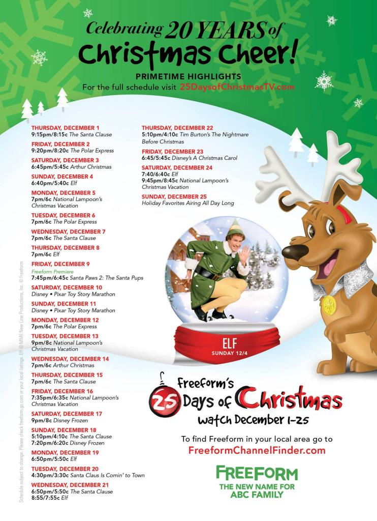 Freeform 25 Days of Christmas Schedule #25DaysofChristmas