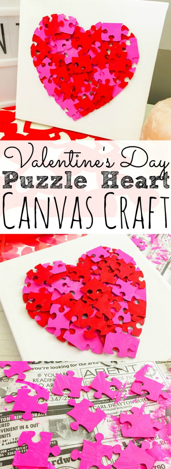 Valentines Day Puzzle Heart Canvas