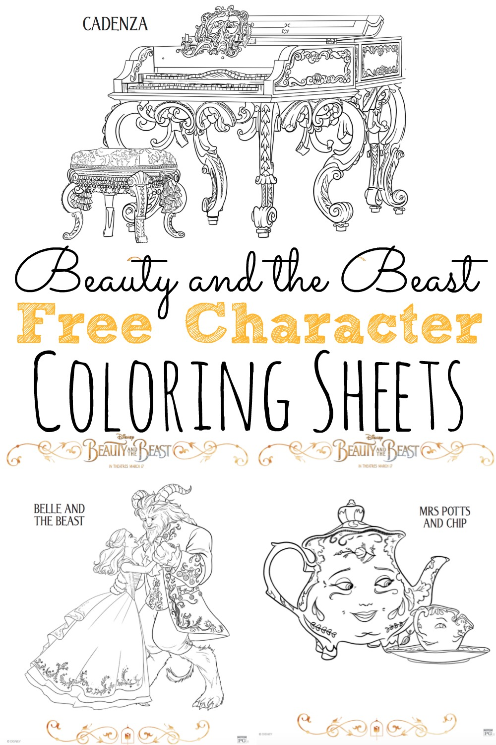 Free Beauty and the Beast Coloring Pages #BeautyAndTheBeast