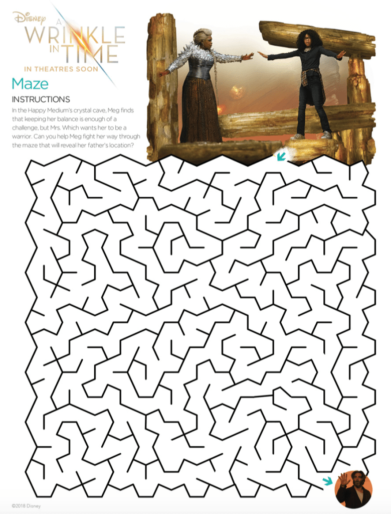 A Wrinkle In Time Maze Activity Sheet Free