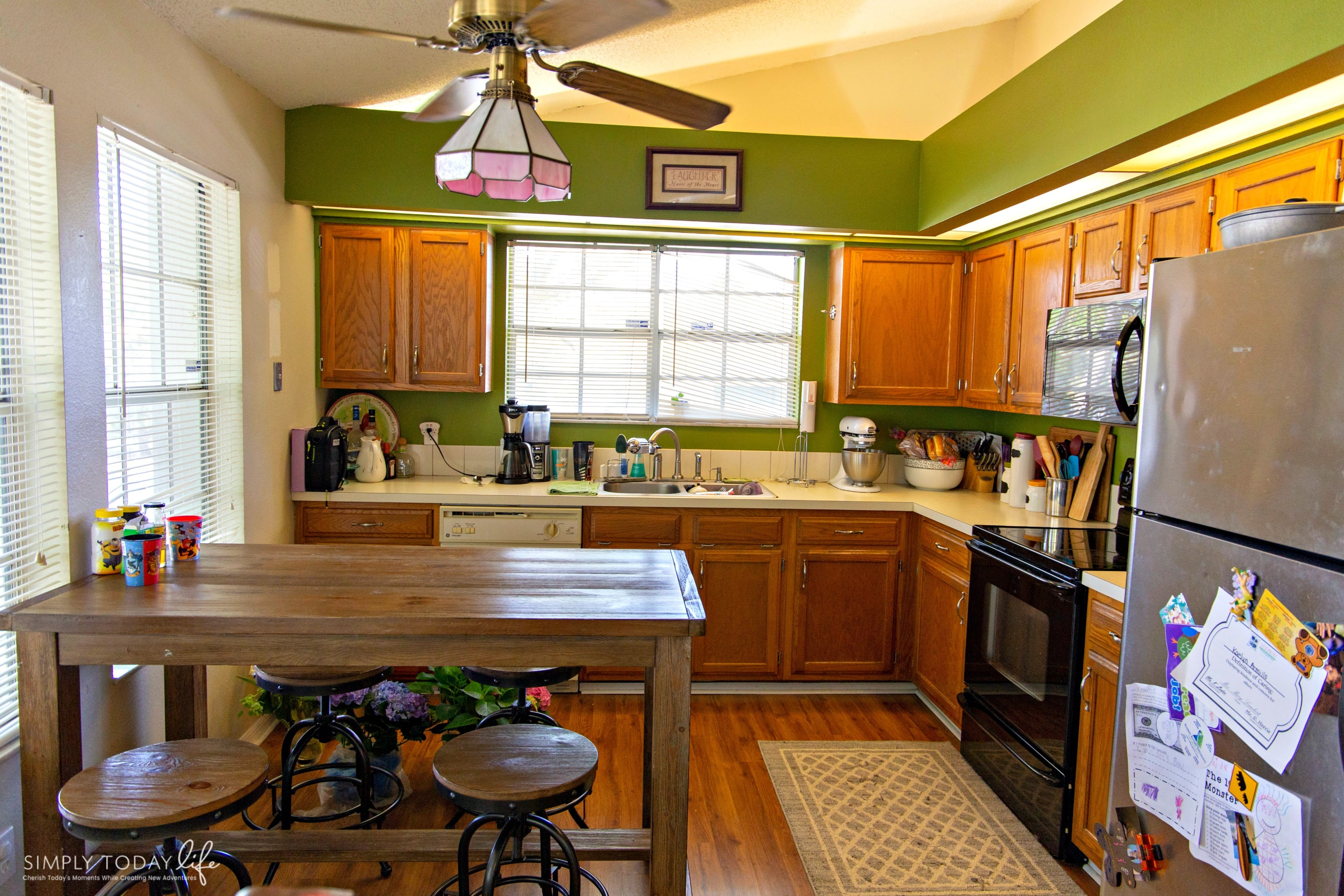 Painting Kitchen Cabinets With Chalk Paint From Dixie Belle | From 80's Drab To Farmhouse Fab Before Photo - simplytodaylife