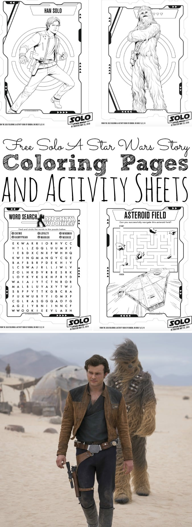 Free Solo A Star Wars Story Coloring Pages and Activity Sheets #HanSolo - simplytodaylife.com