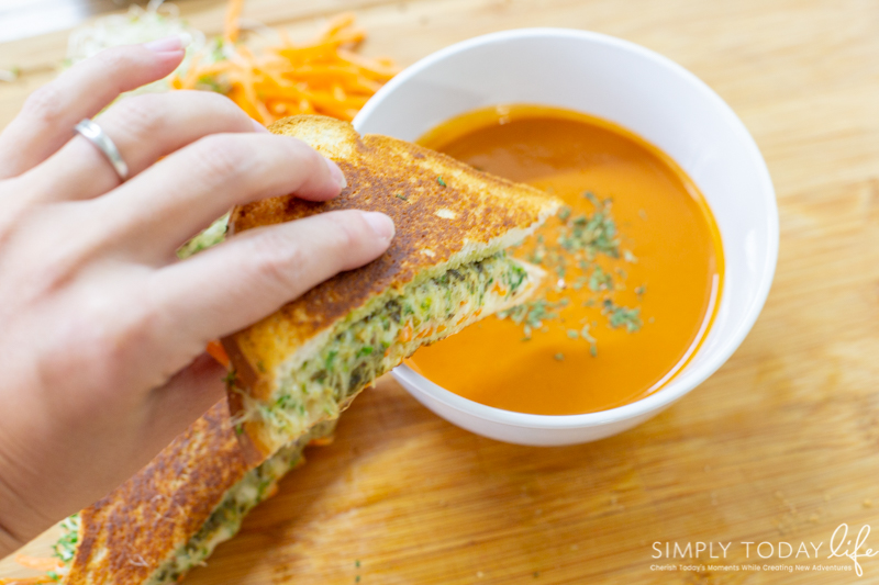 Veggie Mozzarella Pesto Grilled Cheese Sandwich with Tomato Soup