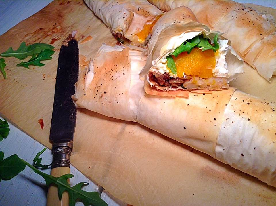 Butternut squash and white beans crispy rolls