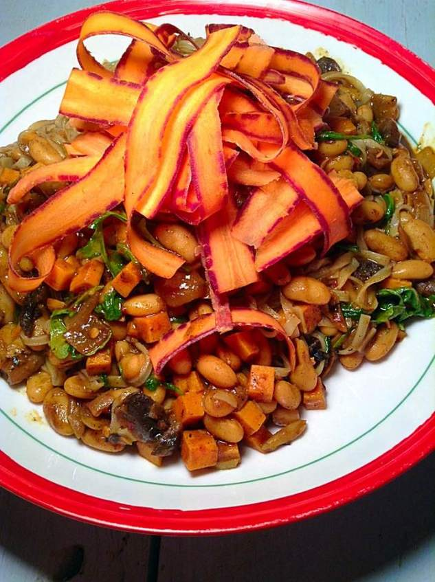 Rice linguini with white beans and sweet potato curry