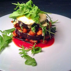 Eggplant and chickpea stack