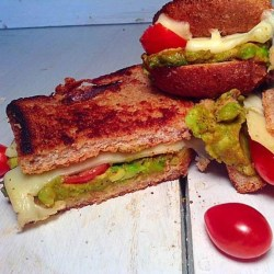 Avocado and cherry tomatoes grilled cheese