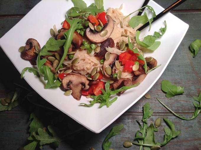 Rice linguini and veggies with sweet peanut butter sauce