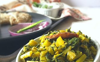 Mooli ke Patte ki Bhurji or Daikon Leaves Stir Fry